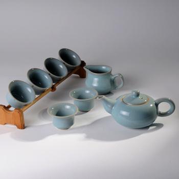 个人 茶具/怡品堂天青汝瓷尊贵礼品茶具套装